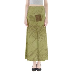 Vintage Map Background Paper Full Length Maxi Skirt