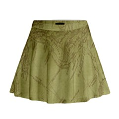 Vintage Map Background Paper Mini Flare Skirt