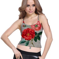 Flower Floral Background Red Rose Spaghetti Strap Bra Top