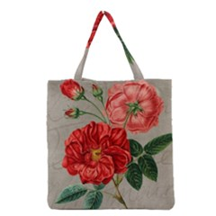 Flower Floral Background Red Rose Grocery Tote Bag