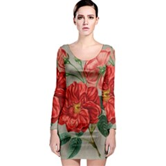 Flower Floral Background Red Rose Long Sleeve Bodycon Dress