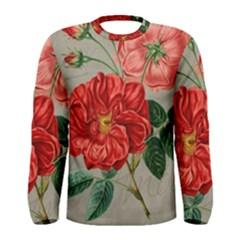 Flower Floral Background Red Rose Men s Long Sleeve Tee