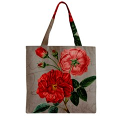 Flower Floral Background Red Rose Zipper Grocery Tote Bag