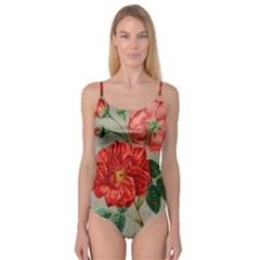 Flower Floral Background Red Rose Camisole Leotard