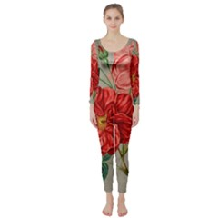 Flower Floral Background Red Rose Long Sleeve Catsuit