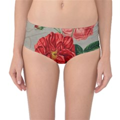 Flower Floral Background Red Rose Mid Waist Bikini Bottoms