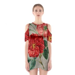 Flower Floral Background Red Rose Shoulder Cutout One Piece