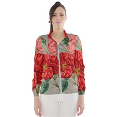 Flower Floral Background Red Rose Wind Breaker (women)