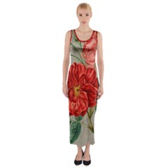 Flower Floral Background Red Rose Fitted Maxi Dress