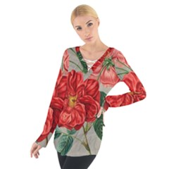 Flower Floral Background Red Rose Tie Up Tee