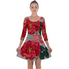 Flower Floral Background Red Rose Quarter Sleeve Skater Dress