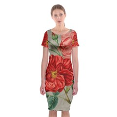 Flower Floral Background Red Rose Classic Short Sleeve Midi Dress