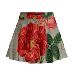 Flower Floral Background Red Rose Mini Flare Skirt
