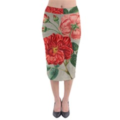 Flower Floral Background Red Rose Midi Pencil Skirt
