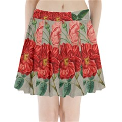 Flower Floral Background Red Rose Pleated Mini Skirt