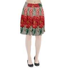 Flower Floral Background Red Rose Pleated Skirt