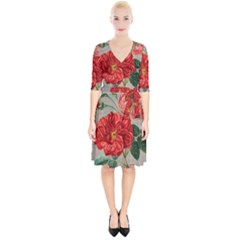 Flower Floral Background Red Rose Wrap Up Cocktail Dress