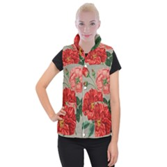 Flower Floral Background Red Rose Women s Button Up Puffer Vest