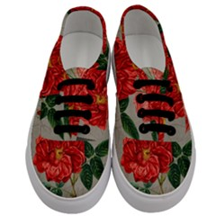 Flower Floral Background Red Rose Men s Classic Low Top Sneakers