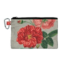 Flower Floral Background Red Rose Canvas Cosmetic Bag (medium) by Nexatart