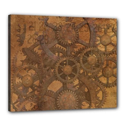 Background Steampunk Gears Grunge Canvas 24  X 20
