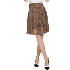 Background Steampunk Gears Grunge A Line Skirt