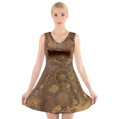 Background Steampunk Gears Grunge V Neck Sleeveless Skater Dress