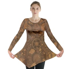 Background Steampunk Gears Grunge Long Sleeve Tunic