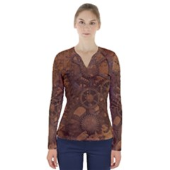 Background Steampunk Gears Grunge V Neck Long Sleeve Top