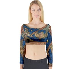 Bats Cubism Mosaic Vintage Long Sleeve Crop Top