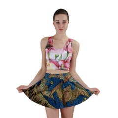 Bats Cubism Mosaic Vintage Mini Skirt