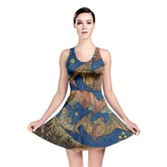 Bats Cubism Mosaic Vintage Reversible Skater Dress