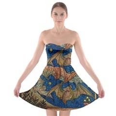 Bats Cubism Mosaic Vintage Strapless Bra Top Dress