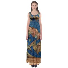 Bats Cubism Mosaic Vintage Empire Waist Maxi Dress