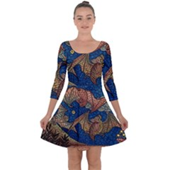 Bats Cubism Mosaic Vintage Quarter Sleeve Skater Dress