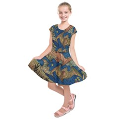 Bats Cubism Mosaic Vintage Kids  Short Sleeve Dress