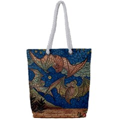Bats Cubism Mosaic Vintage Full Print Rope Handle Tote (small) by Nexatart