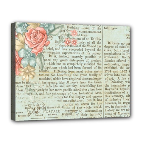 Vintage Floral Background Paper Canvas 14  X 11