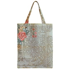 Vintage Floral Background Paper Zipper Classic Tote Bag