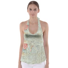 Vintage Floral Background Paper Babydoll Tankini Top