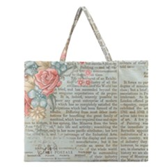 Vintage Floral Background Paper Zipper Large Tote Bag