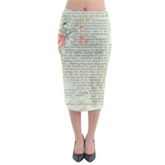 Vintage Floral Background Paper Midi Pencil Skirt
