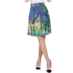Background Fairy Tale Watercolor A Line Skirt