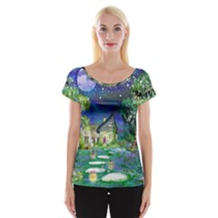 Background Fairy Tale Watercolor Cap Sleeve Tops