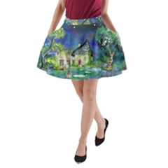 Background Fairy Tale Watercolor A Line Pocket Skirt