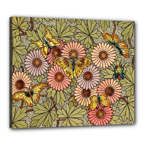 Flower Butterfly Cubism Mosaic Canvas 24  X 20