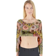 Flower Butterfly Cubism Mosaic Long Sleeve Crop Top