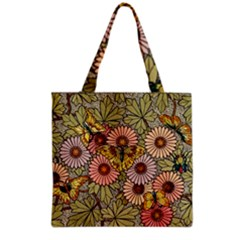Flower Butterfly Cubism Mosaic Grocery Tote Bag
