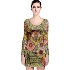 Flower Butterfly Cubism Mosaic Long Sleeve Bodycon Dress