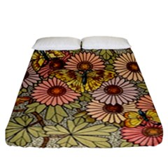 Flower Butterfly Cubism Mosaic Fitted Sheet (california King Size)